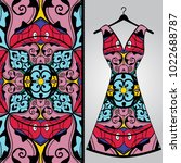fabric pattern design for a... | Shutterstock .eps vector #1022688787