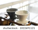 coffee drip kits set on table ... | Shutterstock . vector #1022691121