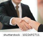 lawyers handshake attorneys... | Shutterstock . vector #1022692711