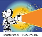 retro cinema video camera with... | Shutterstock .eps vector #1022693107