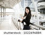 image of busy female calling on ... | Shutterstock . vector #1022696884