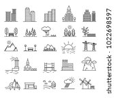 urban scenery elements black... | Shutterstock .eps vector #1022698597