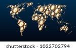 world map of golden bitcoins ... | Shutterstock .eps vector #1022702794
