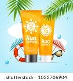 realistic 3d detailed sunscreen ... | Shutterstock .eps vector #1022706904