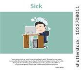 asian businessman sick... | Shutterstock .eps vector #1022708011