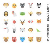 flat icon set of animals and... | Shutterstock .eps vector #1022712844