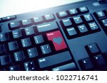 red button on the keyboard with ... | Shutterstock . vector #1022716741
