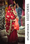 Small photo of Old Manali, Himachal Pradesh / India - May 17 2015: Indian woman in traditional saree during Doongri festival.