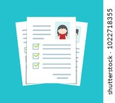 documents with personal data ... | Shutterstock .eps vector #1022718355