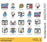 Law & copyright icons. Artwork, author, search, open content, original idea, fake concept, digital law, online court, trademark, dmca file notice, invention patent, arbitration process, public domain.