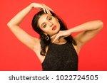 beautiful female model in black ... | Shutterstock . vector #1022724505