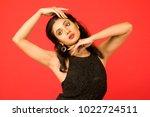 beautiful female model in black ... | Shutterstock . vector #1022724511