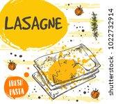 lasagne pasta card concept... | Shutterstock .eps vector #1022732914