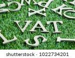 wood letter in word vat ... | Shutterstock . vector #1022734201