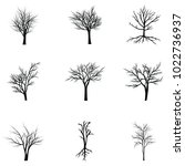 collection of trees silhouettes | Shutterstock .eps vector #1022736937