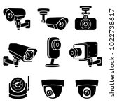 cctv camera icons. vector... | Shutterstock .eps vector #1022738617