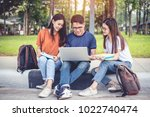 three asian young campus... | Shutterstock . vector #1022740474