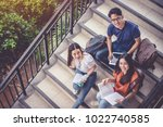 three asian young campus...   Shutterstock . vector #1022740585
