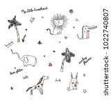 animals and palm tree doodle... | Shutterstock .eps vector #1022740807