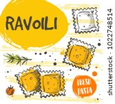 ravioli pasta card concept...   Shutterstock .eps vector #1022748514