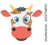 fat icon of the face of a cow... | Shutterstock .eps vector #1022748931