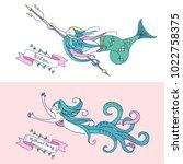 mythological creature. sea king ... | Shutterstock .eps vector #1022758375