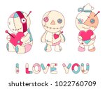 collection of cute voodoo dolls ... | Shutterstock .eps vector #1022760709