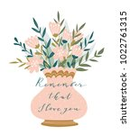 romantic pink peony bouquet in... | Shutterstock .eps vector #1022761315