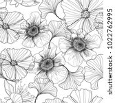 drawing with a pencil   flowers | Shutterstock .eps vector #1022762995