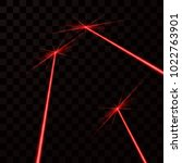 set of red laser beams. red... | Shutterstock . vector #1022763901