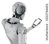 3d rendering robot holding... | Shutterstock . vector #1022766601