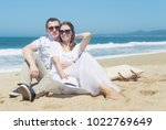 young smiling couple in... | Shutterstock . vector #1022769649