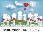 illustration of love and... | Shutterstock .eps vector #1022770717
