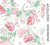 seamless peony pattern with... | Shutterstock . vector #1022770729