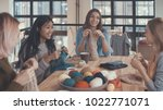 young women in knitting studio | Shutterstock . vector #1022771071