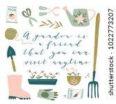 garden tool set. vector... | Shutterstock .eps vector #1022773207