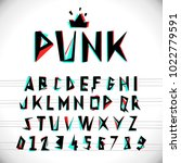 font with glitched stereo... | Shutterstock .eps vector #1022779591