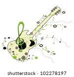 guitar   green floral  ornament   Shutterstock . vector #102278197