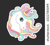 Stock vector unicorn vector illustration for children design white unicorn rainbow hair cute fantasy animal 1022785099