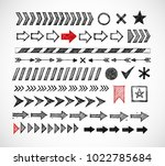 set of doodle arrow dividers ... | Shutterstock .eps vector #1022785684