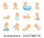 infant newborn baby big set in... | Shutterstock .eps vector #1022788174