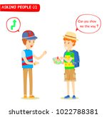the traveler  asked directions... | Shutterstock .eps vector #1022788381