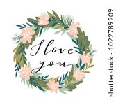 romantic pink peony wreath with ... | Shutterstock .eps vector #1022789209