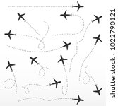 airplane route  directions...   Shutterstock .eps vector #1022790121