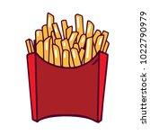french fries red box on white... | Shutterstock .eps vector #1022790979
