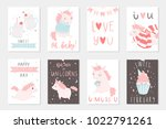 set of 8 cute ready to use gift ... | Shutterstock .eps vector #1022791261