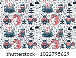 seamless pattern with cartoon... | Shutterstock .eps vector #1022795629