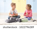 cute little musicians playing... | Shutterstock . vector #1022796289