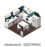isometric 3d kitchen interior... | Shutterstock .eps vector #1022799055