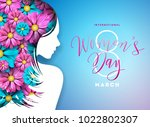 happy womens day floral... | Shutterstock .eps vector #1022802307